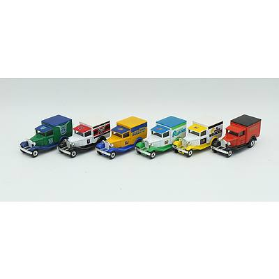 Six Model A Ford MatchBox Vans with Assorted Sporting Team Decals Including; Perth Wildcats, Brisbane Bullets, Auckland Warriors and More