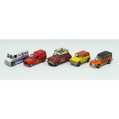 Five Assorted Matchbox, Corgi Toys, Hot wheels and Majorette Trucks and Car Toys