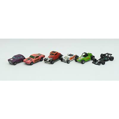 6 Assorted Hotwheels, Corgi Junior, Matchbox and Playart Cars Including; WildCat Dragster No.8, RockBuster, 1300 Mini Cooper S and More
