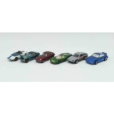 6 Hotwheels, Matchbox and Playart Toy Cars Including; Ford Group 6, Jaguar E-Type 2+2, Maserati Mistral, Jack 'Rabbit' Special, Omni 024 and Porsche Carrera