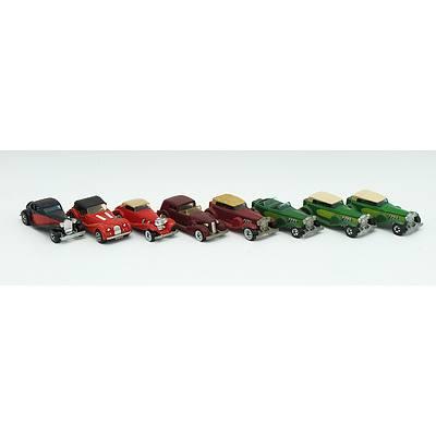 8 Hotwheels and Majorette Model Cars Including;'37 Bugatti, Morgan, Mercedes 540K, '35 Classic Caddy and '31 Doozie.