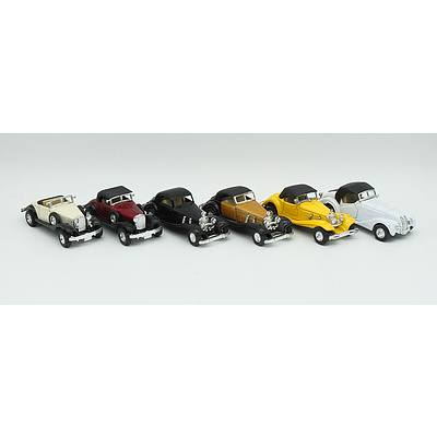 6 Medium Sized Pull back Motor Car Models With Opening Doors Including; Mercedes 500k and More