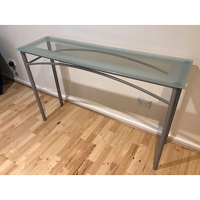 Clouded Glass Hallway Table - Lot of 2