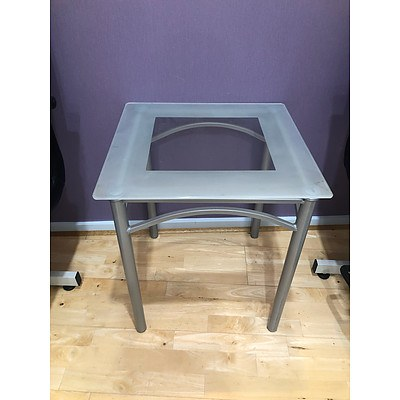 Clouded Glass Side Table