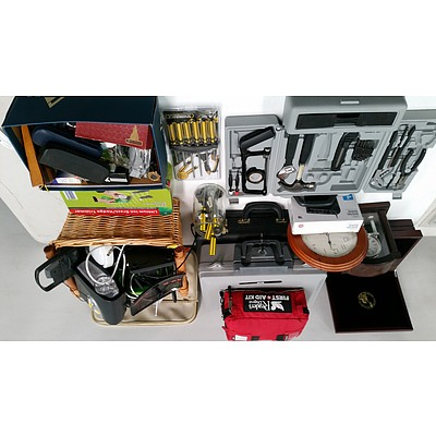 Quantity of Electronic Goods, Household and Garden Equipment, First Aid Kit, Tools