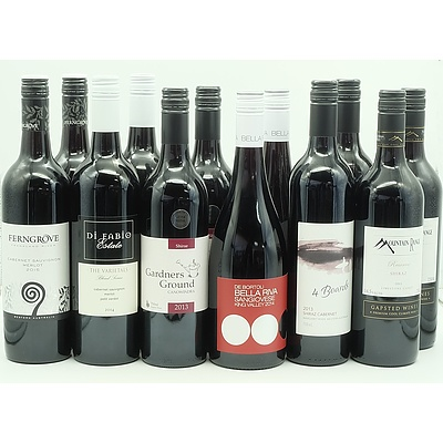 Case of 12x 750ml Mixed Red Wine, Including Mountain Range, 4 Boards, Ferngrove, Di Fabio Estate and More