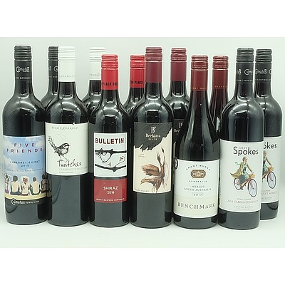 Case of 12x 750ml Mixed Red Wine, Including Grant Burge, Five Friends, Byron & Harold and More