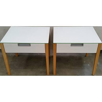Scandinavian Style Bedside Tables - Lot of Two