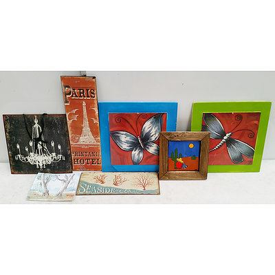 11 Assorted Prints and Paintings Including One Hand Painted Bush Scene