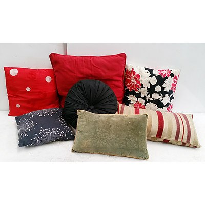 7 Decorative Pillows, Two Pillow Cases and a Fabric Suitcase