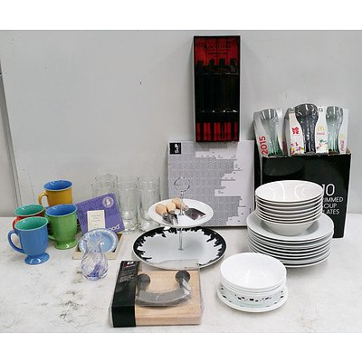 Assorted Kitchenwares Including; Glasses, Plates, Mugs, Cake Stands, Cheese Knives, Chop Stick and Placemat Set and More