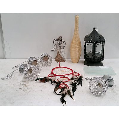 Group of Candlewares, Glass Serving Plate and More
