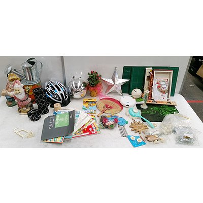 Large Lot of Assorted Homewares Including; Garden Gnomes, Small Watering Can, Helmet, Decorative Fake Plant, Razer Gaming Mouse Pad, Work Mats and More