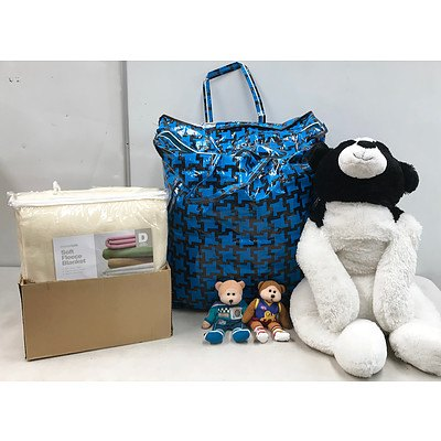 Lot of Stuffed Toys & Blankets