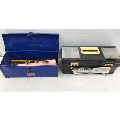 """15"""" Metal & 16"""" Plastic Tool Boxes with Tools"""