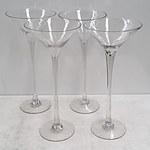 Four Large Martini Glasses