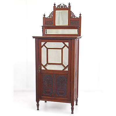 Well Carved Late Victorian Mahogany Music Cabinet Circa 1890 with Bevelled Mirrors