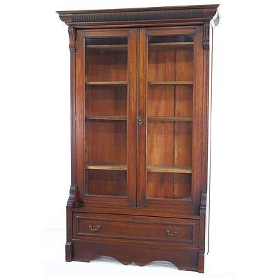 Edwardian Walnut Bookcase Early 20th Century