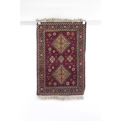 Small Persian Hand Knotted Wool Pile Mat