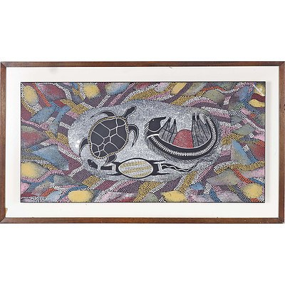 Dale Huddleston (1965-) Turtles and Echidna 1990, Acrylic on Board