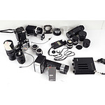 Nikon F Camera and Large Assortment of Camera Accessories
