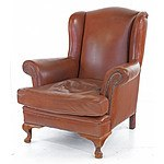 Vintage Tan Full Grain Leather Wingback Armchair