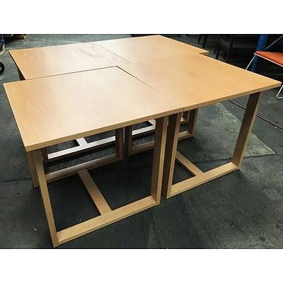 Four Workspace Oak Veneer Meeting Tables