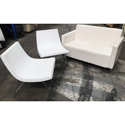 Contemporary White PU Leather Lounge & Two Armless Chairs