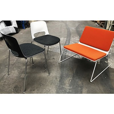 Three Contemporary Armless Chairs