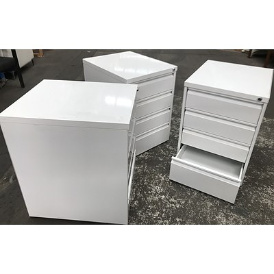 Three White Contemporary Mobile Drawers