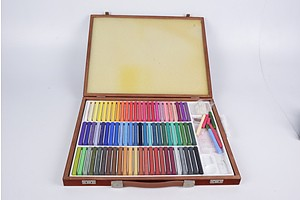 Group of Faber-Castell Pastell-Pastels with Wooden Carry and Storage Case