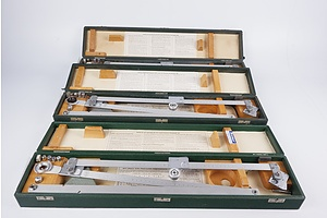 Three OTT Small Size Precision Pantograph 500s, Lettering Equipment Kit and Box of Linex Drafting Curves/Stencils