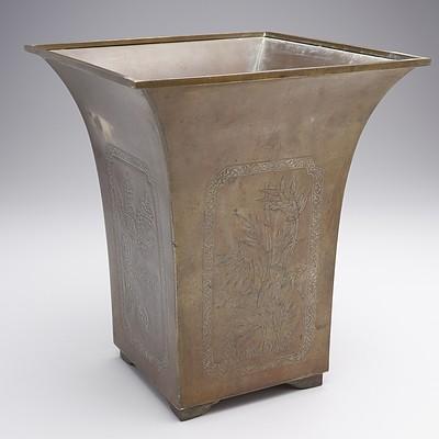 Antique Japanese Engraved Brass Planter