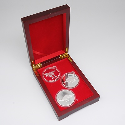 The Dinosaur Collection One Troy Ounce Three Coin Set - 999 Fine Silver