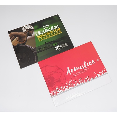 Armistice One Hundred Years On 2018 Uncirculated Year Set and 2016 Australian Paralympic Team 2016 $2 Coloured Uncirculated Coin