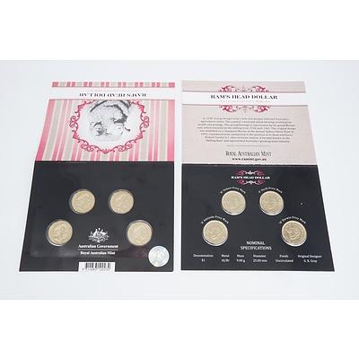 Two Ram's Head Dollar 2011 Four Coin Privy Mark Sets