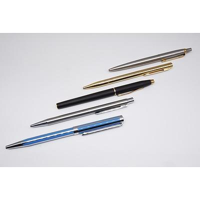 Five Pens Including Sheaffer, Cross and Parker