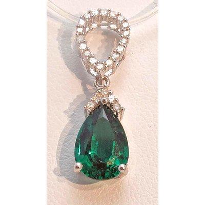 9Ct Gold Gilson Emerald & Diamond Pendant