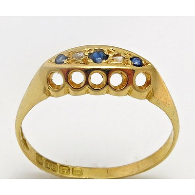Antique 18Ct Gold Ring - Sapphire & Diamond