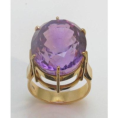 Vintage Large Natural Amethyst Ring. 18Ct Gold
