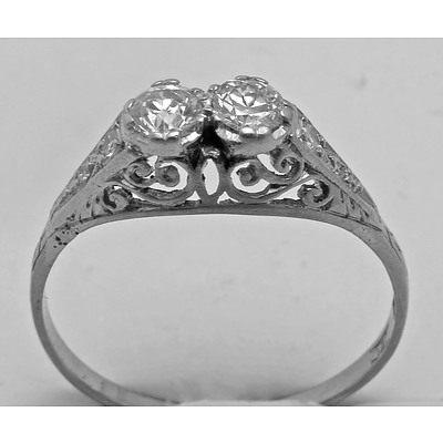 Vintage Two Stone Diamond Ring. 18Ct Gold & Platinum