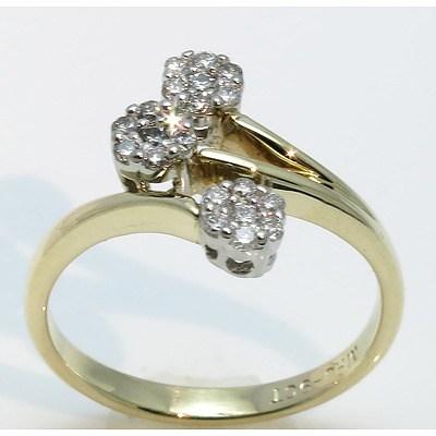 9Ct Gold Triple Cluster Diamond Ring
