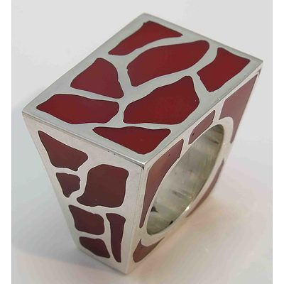 Dramatic Sterling Silver Ring - With Red Infill
