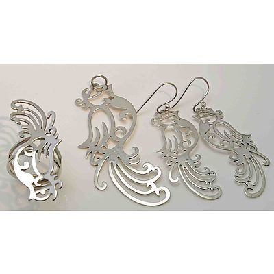 Sterling Silver Set Of Ring, Pendant & Earrings