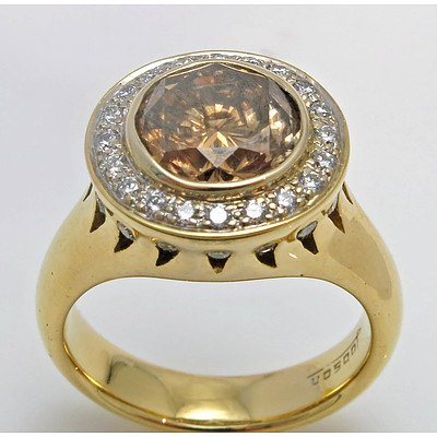 18Ct Gold 2.71Ct Cognac/Champagne Diamond Ring