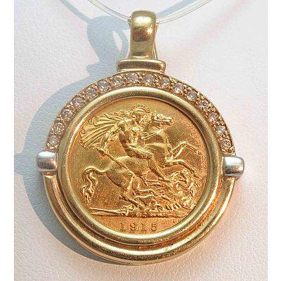 Australian Gold Half-Sovereign Pendant