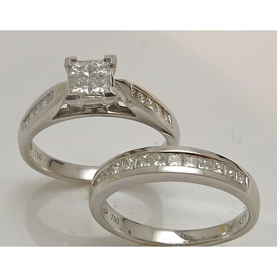 18ct White Gold Princess-cut Ring Set