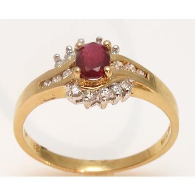 14ct Gold Ruby & Diamond Ring