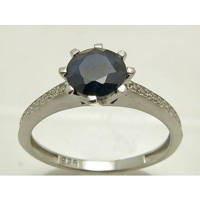 Sterling Silver Ring - Sapphire & CZ