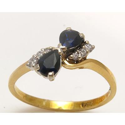 18ct Gold Blue Sapphire & Diamond Ring